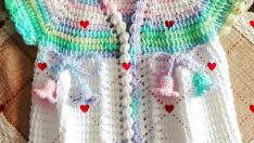 Knitted baby dress, vest, cardigan, sweater, overalls patterns -5