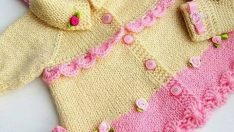 Knitted baby dress, vest, cardigan, sweater, overalls patterns -9