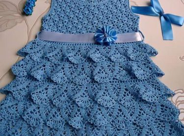 Dress is an elegance in crochet yarn patterns with shema