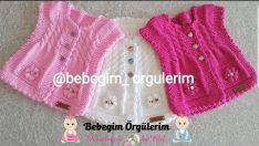 Girl baby knitted horseshoe vest 1