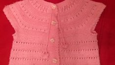 cute baby handcrafted knitted vest model