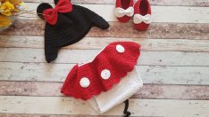 Knit Minnie Mouse Costume (Hat, Booties, Dress) free pattern
