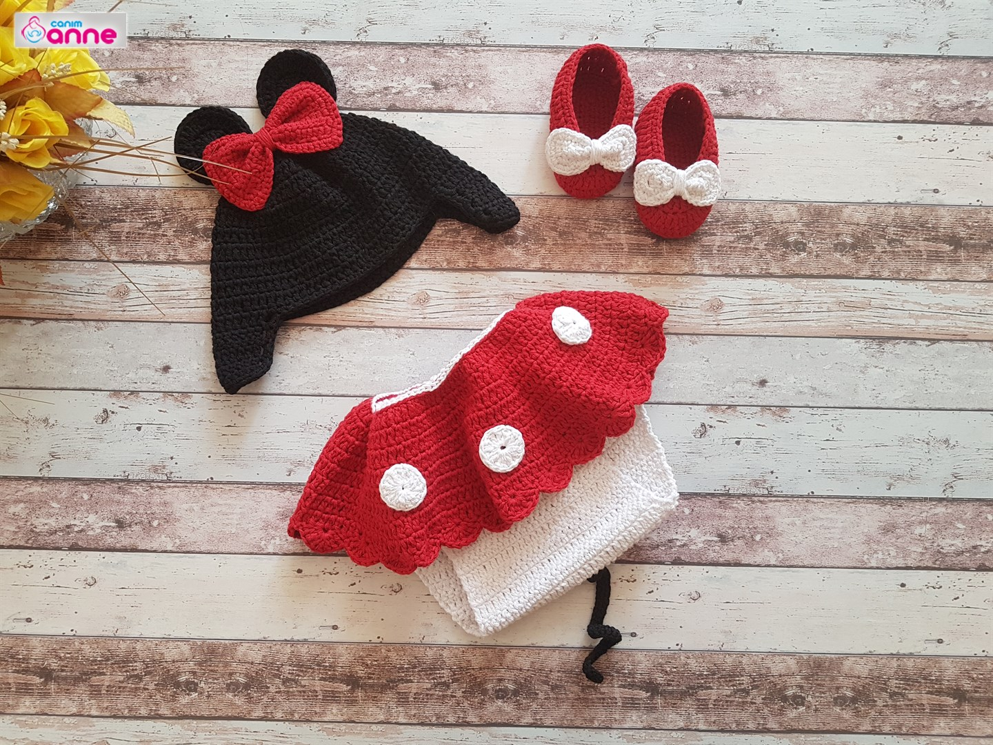 Knit Minnie Mouse Costume Hat Booties Dress Free Pattern