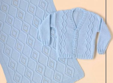 ZIG ZAG BABY BLANKET, HAT, BOOTEES, CARDIGAN FREE PATTERN PDF