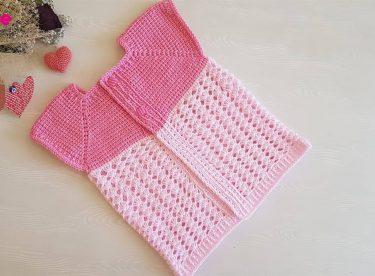 Tunisian pentagonal baby vest pattern