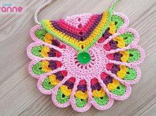 Crochet colorful children bag pattern