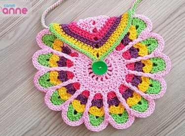 Crochet colorful children bag pattern